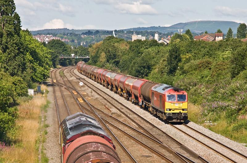 60020, 05.00 Robeston Sidings-Westerleigh Murco, Llanwern West Junction, near Newport, 24-7-17. 66xxx, 09.35 Llanwern Exchange Sidings-Birdport (East Usk branch).