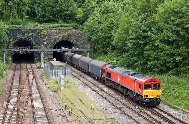 66009/66160, top'n'tail 14.44 Birdport (Newport East Usk Branch)-Margam, Gaer Junction, Newport, 13-7-17.