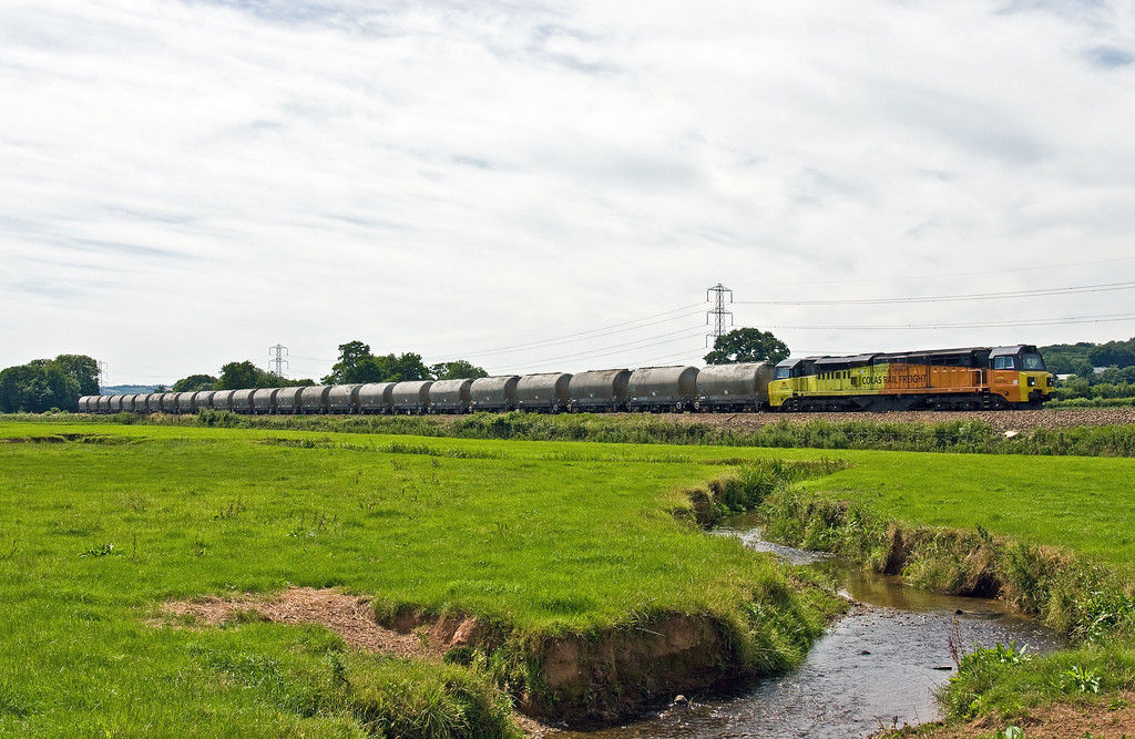 70810, 11.38 Moorswater Tarmac-Aberthaw Cement Works, Pugham Crossing, near Burlescombe, 6-7-17.