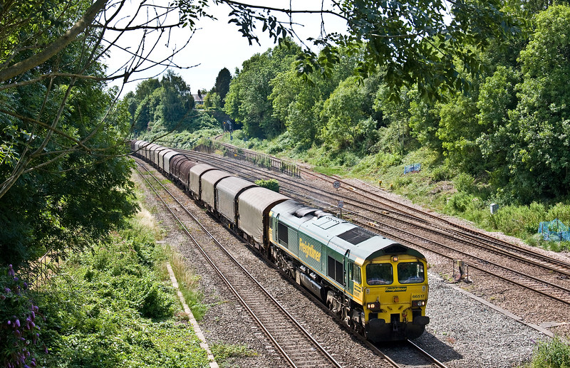 66517, 10.29 Margam-Dee Marsh, Gaer Junction, Newport, 17-7-17. FLHH men and machines hired-in by DB Cargo this week to resolve crewing issues.