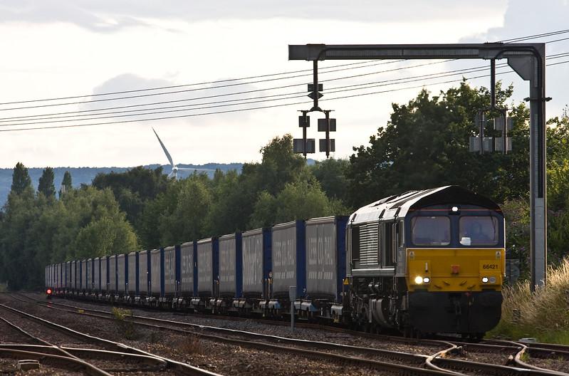 66421, 18.58 Cardiff Wentloog-Daventry Railfreight Terminal, departing Lydney Loops, 13-7-17.