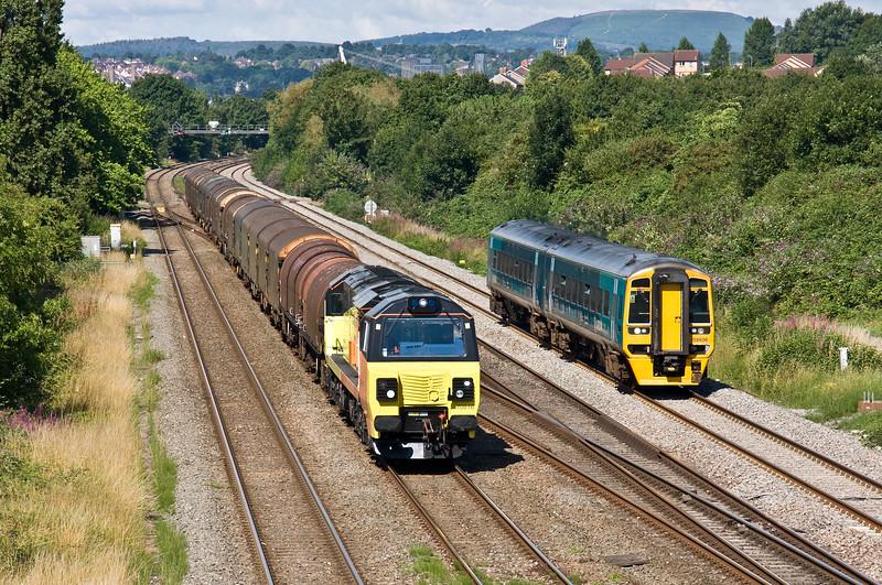 70816, 09.34 Newport Docks-Llanwern Exchange Sidings, Llanwern West Junction, near Newport, 24-7-17. 158836, 09.16 Maesteg-Cheltenham Spa.