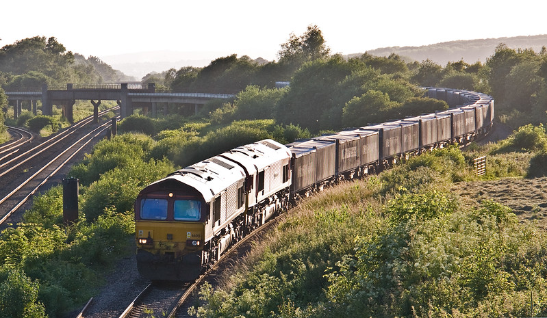 66015/66066, 18.20 Margam Yard-Carlisle, Llandevenny, near Llanwern, 13-6-17.