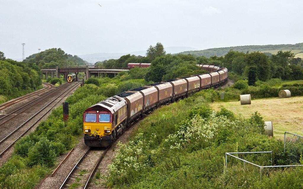 66165, 12.45 Onllwyn Washery-Immingham, Llandevenny, near Llanwern, 15-6-17. 158951, 17.23 Portsmouth Harbour-Cardiff Central.
