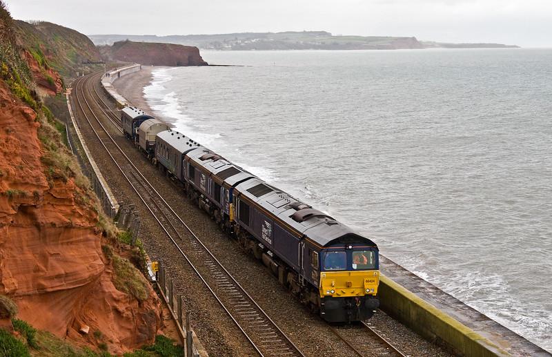 66424/66301, 06.13 Crewe Coal Sidings-Devonport Royal Dockyard, Dawlish, 8-3-17.ƒ