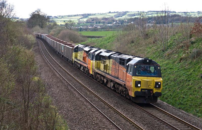 70806/70807, 13.45 Exeter Riverside Yard-Whatley Quarry, Whiteball, 22-3-17. 70807 failed in Exeter.