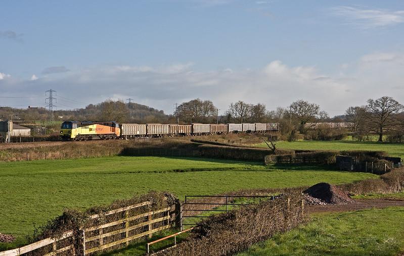 70805, 05.27 Westbury Yard-Exeter Riverside Yard,  Pugham Crossing. near Burlescombe, 21-3-17. Via Bristol because of 20-3-17 derailment at East Somerset Junction, on the Berks and Hants line.