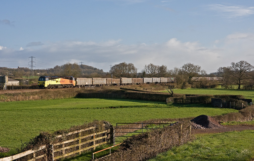 70805, 05.27 Westbury Yard-Exeter Riverside Yard,  Pugham Crossing. near Burlescombe, 21-3-17. Via Bristol because of 20-3-17 derailment at East Somerset Junction, on the Berks and Hants line.