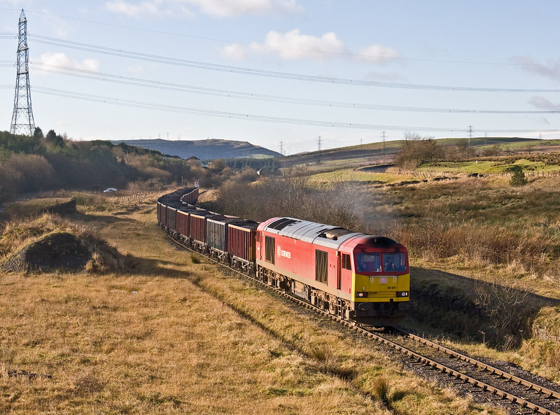 60001, 10.54 Swansea Burrows-Onllwyn Washery, arriving at Onllwyn, 29-11-17.