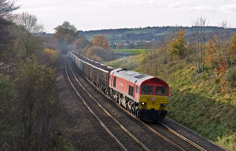 59203, 13.44 Exeter Riverside Yard-Whatley Quarry, Whiteball, 24-11-17.