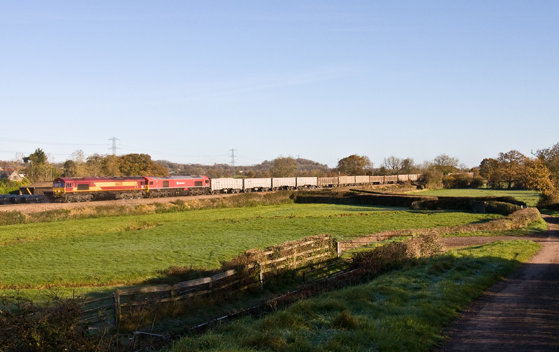 66145/59204, 05.27 Westbury Yard-Exeter Riverside Yard, Pugham Crossing, near Burlescombe, 17-11-17. 2.75hr late. Lost two hours near Frome  after 59204 failed.