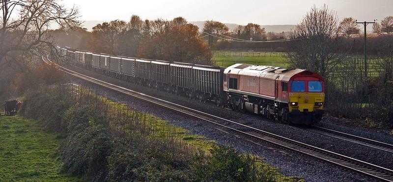 59206, 13.44 Exeter Riverside Yard-Whatley Quarry, Cogload Junction, 23-11-17.