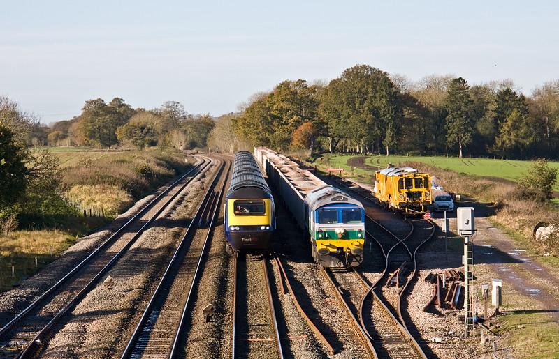 59004, 08.45 Whatley Quarry-Appleford Sidings, Woodborough Loops, near Pewsey, 8-11-17. HST, 05.41 Penzance-London Paddington (late).