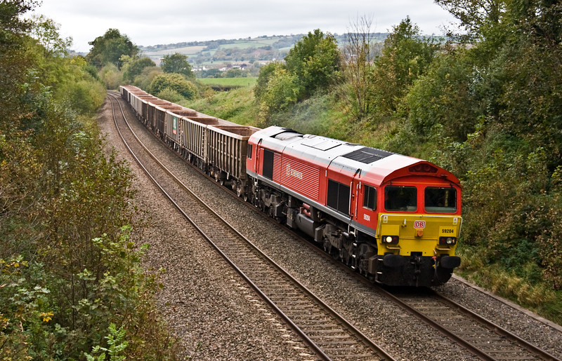 59204, 13.44 Exeter Riverside Yard-Whatley Quarry, Whiteball, 13-10-17.