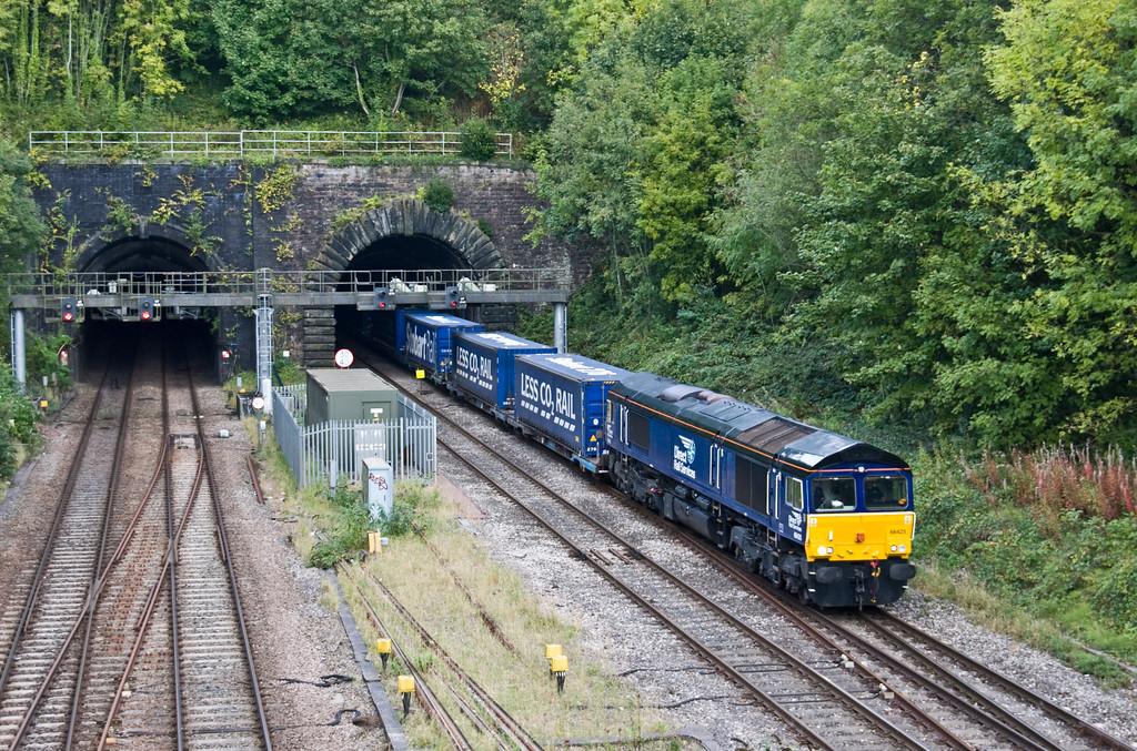 66425, 10.47 Daventry Railfreight Terminal- Cardiff Wentloog, Gaer Junction, Newport, 19-9-17.