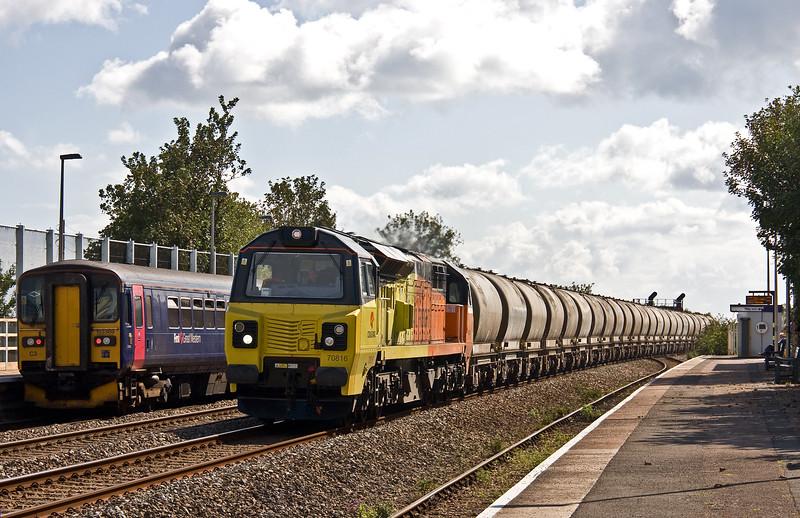 70816, 11.38 Moorswater Tarmac-Aberthaw Power Station, Dawlish Warren, 14-9-17, passing 153361/153369, 13.23 Exmouth-Paignton.