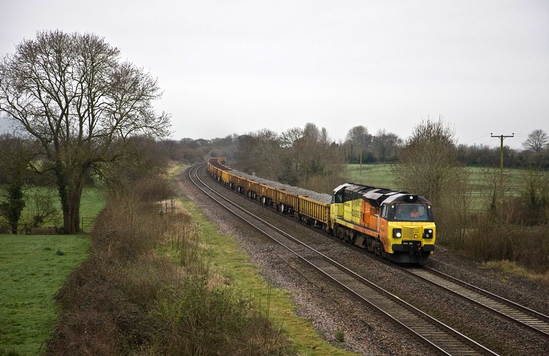 70807, 06.00 Bristol East Junction-Westbury Yard, via Bristol Temple Meads and Taunton Station, Cogload, 8-4-18.