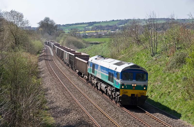 59002, 13.44 Exeter Riverside Yard-Whatley Quarry, Whiteball, 20-4-18.