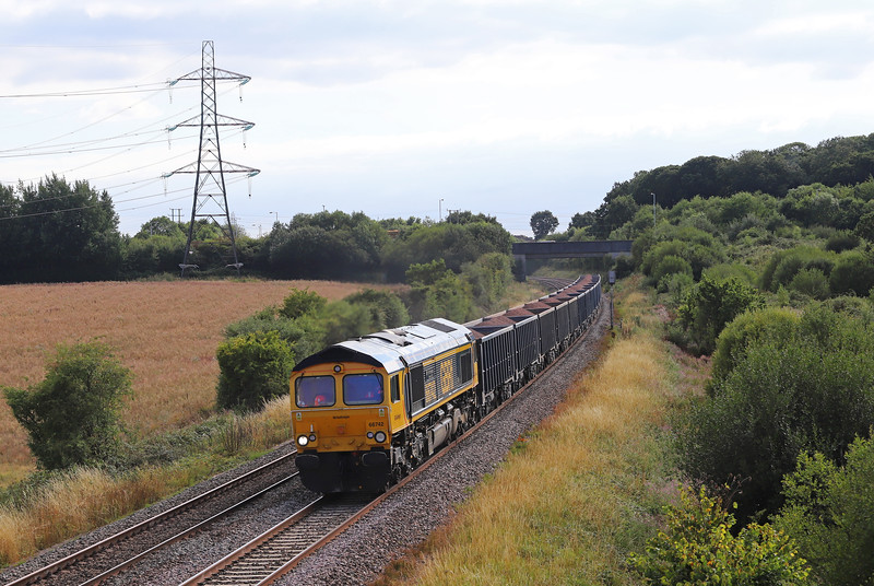 66742, 16.43 Whatley Quarry-Southampton Up Yard, Berkley Lane, Berkley, near Frome, 2-8-18.