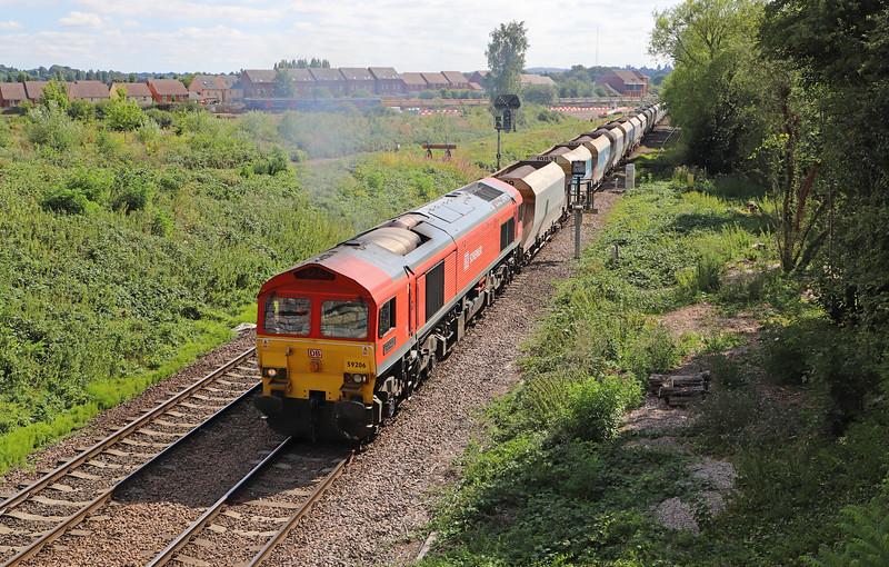 59206, 13.30 Whatley Quarry-Dagenham Dock ARC, Hawkeridge Junction, Westbury, 2-8-18.