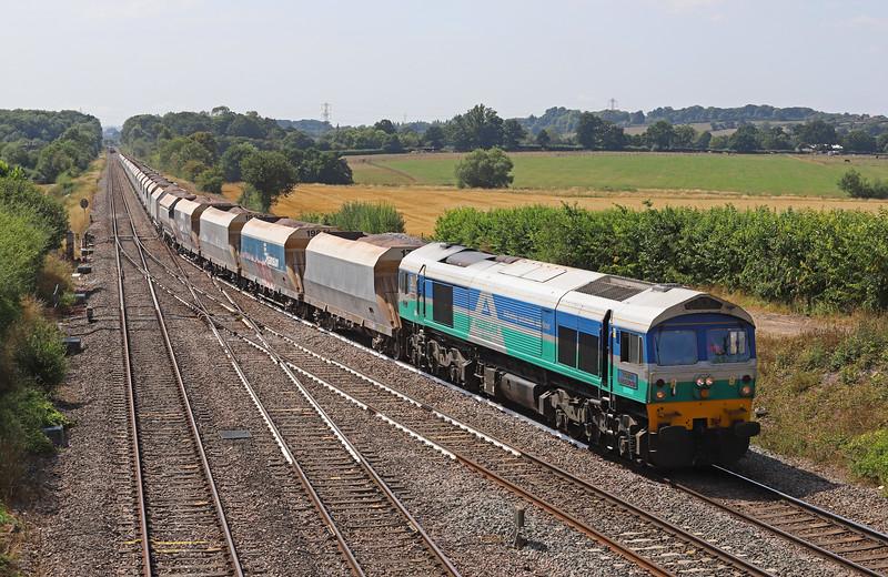 59001,13.23 Whatley Quarry-Dagenham Dock, Fairwood Junction, Westbury, 6-8-18. 44 late.