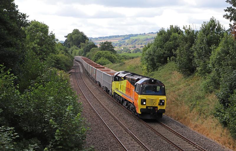 70804, 13.44 Exeter Riverside Yard-Whatley Quarry, Whiteball, 13-8-18.