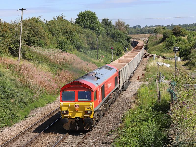 59203, 06.53 London Acton Yard-Merehead Quarry, Hawkeridge Junction, Westbury, 2-8-18. 38 late.