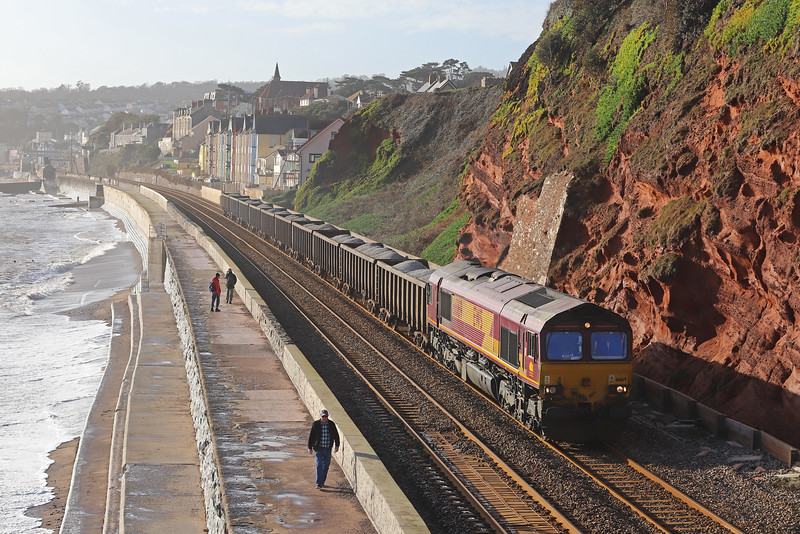66169, 09.56 Burngullow-Exeter Riverside Yard, Dawlish 21-12-18.