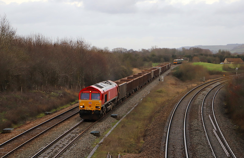 66134, 11.55 Oxford Banbury Road Sidings-Whatley Quarry, Fairwood Junction, near Westbury, 17-12-18. 166205, 13.10 Weymouth-Gloucester.