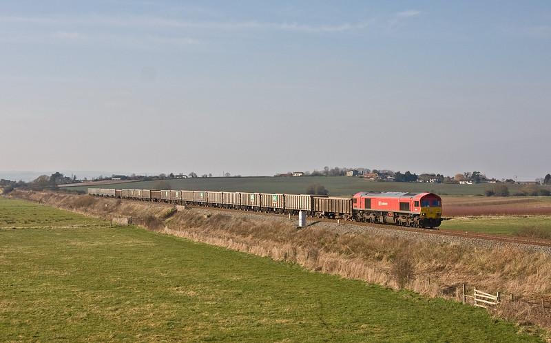 59202, 13.44 Exeter Riverside Yard-Whatley Quarry, Oatrh, nerar Langport, 23-2-18. 1hr early.