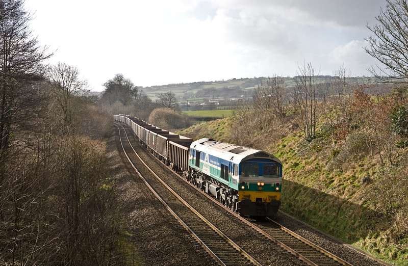 59005, 13.44 Exeter Riverside Yard-Whatley Quarry, Whiteball, 15-2-18.
