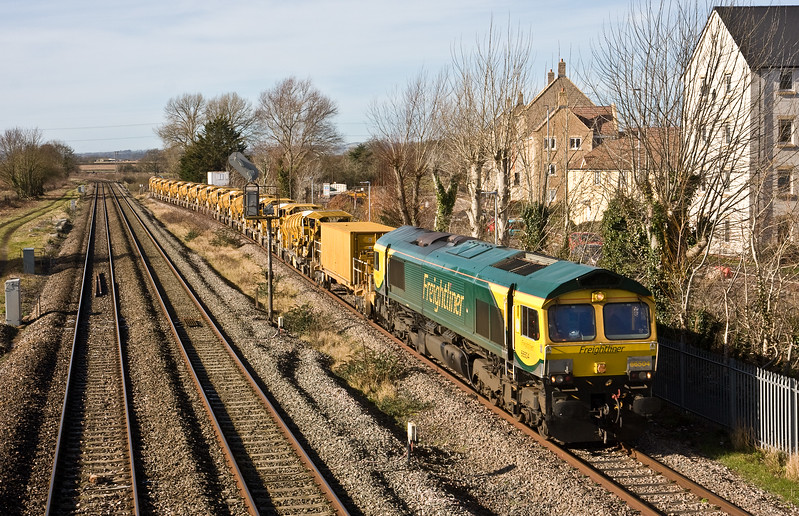 66504/66953, 12.40 Bishops Lydeard-Taunton Fairwater Yard, Norton Fitzwarren, near Taunton, 16-2-18. 1hr 16min early.