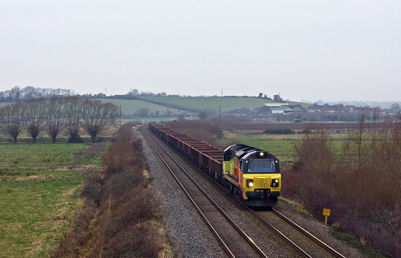 70813, 06.30 Bristol East Junction-Westbury Yard, Wick, near Langport, 14-1-18. 2.5hr early.