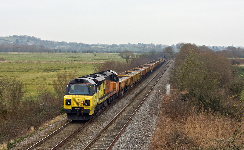 70814/70809, 07.40 Hemerdon=Westbury Yard, Wick, near Langport, 14-1-18.