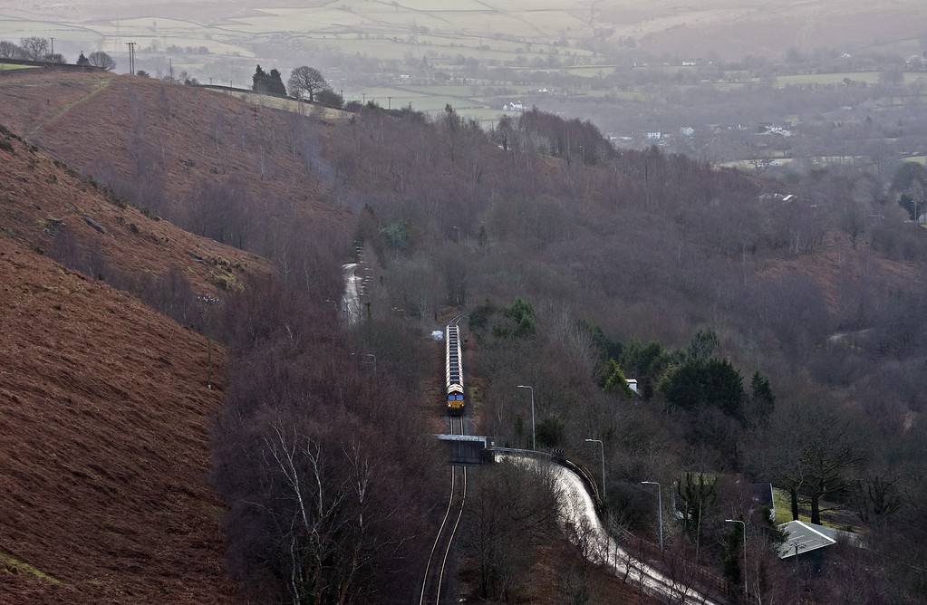 66025, 23-58 Hope Earles Sidings-Cwmbargoed Opencast Colliery, between Trelewis and Bedlinog, 19-1-18.