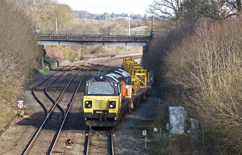 70810, 09.44 Westbury Yard-Hemerdon (Plymouth), via layover at Exeter Riverside Yard, departing Tiverton Loops, Willand, near Tiverton, 26-1-18.