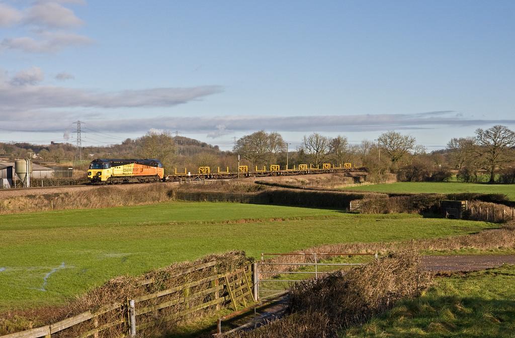 70810, 09.44 Westbury Yard-Hemerdon (Plymouth), via layover at Exeter Riverside Yard, Pugham Crossing, near Burlescombe, 26-1-18.