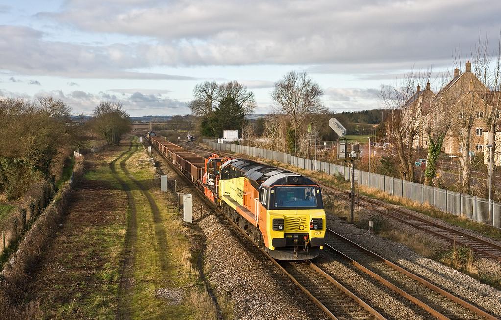 70814/70811, top'n'tail 08.31 Westbury Yard-Exeter Riverside Yard, Norton Fitzwarren, near Taunton, 26-1-18.