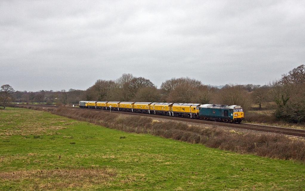 50008/56104, 08.00 Okehampton-Chaddesden Sidings, Silverton, near Exeter, 13-1-18.