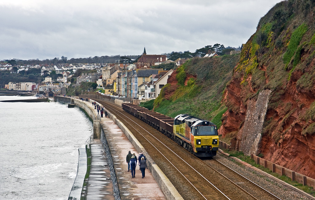 70814, 19.00 Plymouth Laira Junction-Westbury Yard, via overnight layover at St Blazey, Dawlish, 28-1-17.
