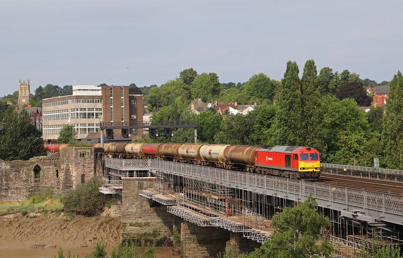 60001, 05.00 Robeston Sidings-Westerleigh, Usk Bridge, Newport, 26-7-18.