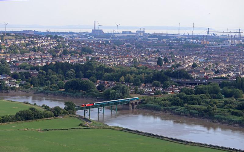 67010, 17.16 Cardiff Central-Holyhead, St Julian's Bridge, Newport, 26-7-18.