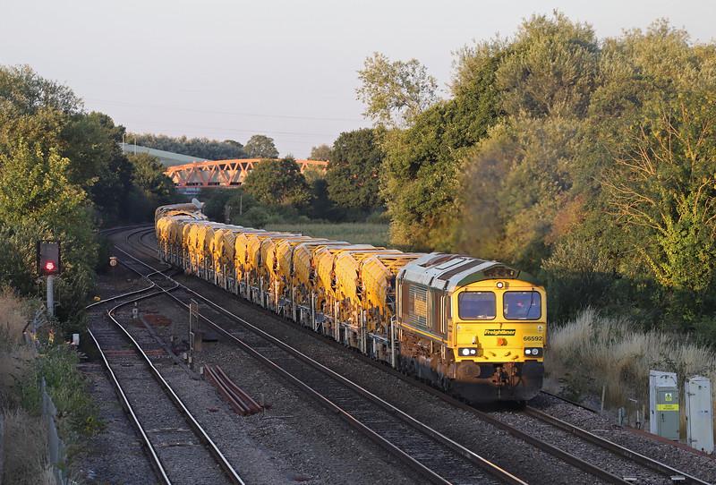 66592/66544, top'n'tail 20.22 Taunton Fairwater Yard-Newton Abbot, Norton Fitzwarren, near Taunton, 25-7-18.