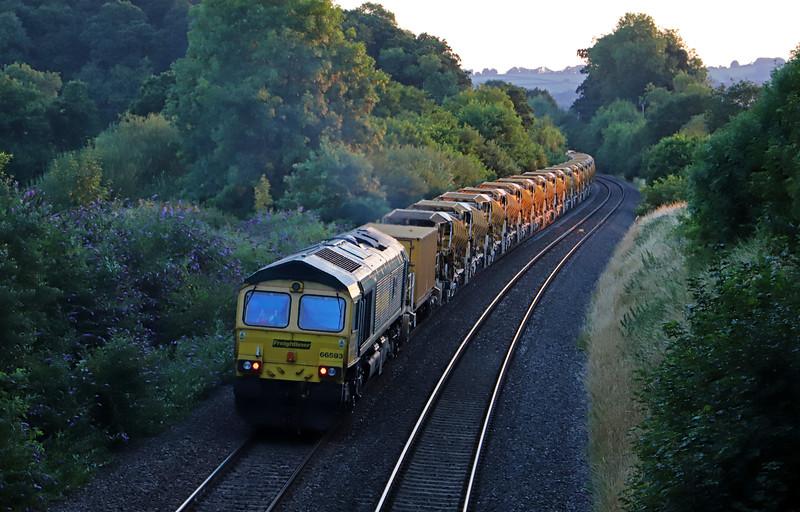 66544/66593, top'n'tail 20.22 Taunton Fairwater Yard-Newton Abbot, Whiteball, 23-7-18. 2,600 tonnes.