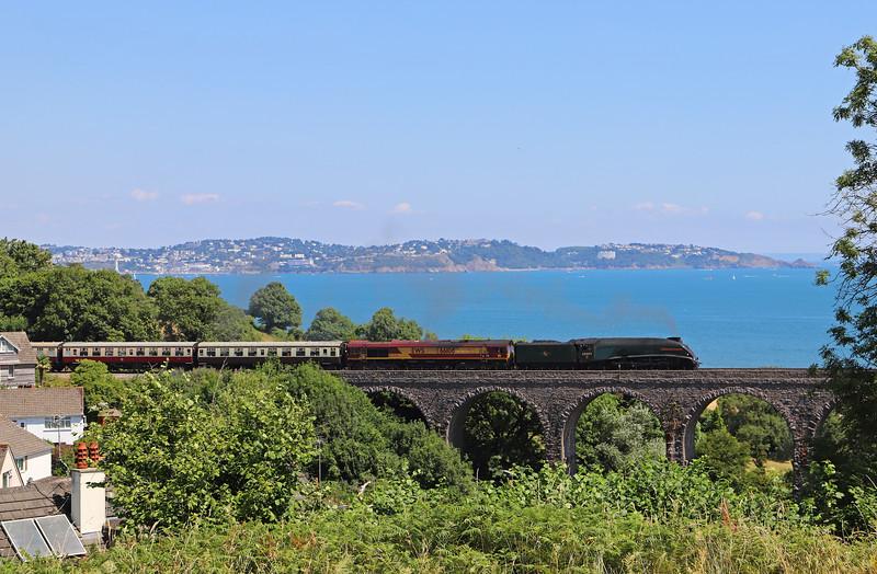 60009 Union of South Africa/66106,Torbay Express, 08.00 Bristol Temple Meads-Kingswear, via Westbury, Hookhills Viaduct, Goodrington, 15-7-18.