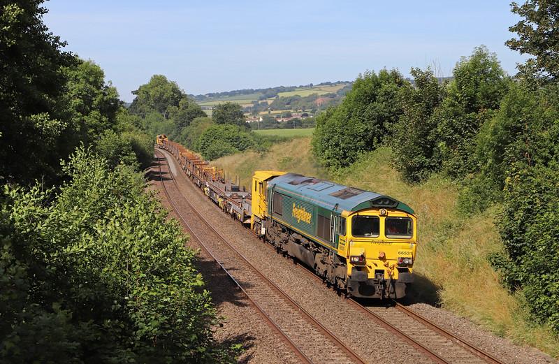 66531, 08.35 Dawlish Warren-Westbury, via Newton Abbot, Whiteball, 24-6-18.