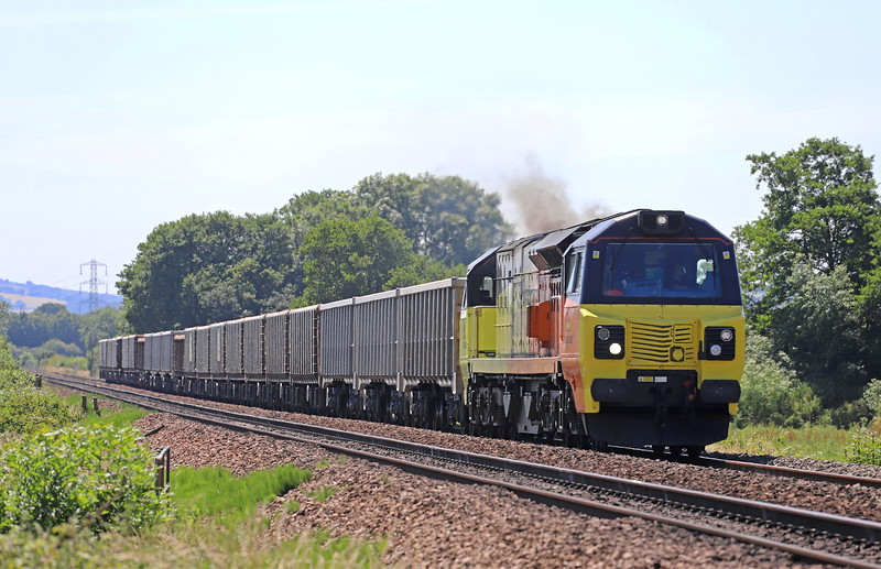70804, 13.44 Exeter Riverside Yard-Whatley Quarry, Pugham Crossing, near Burlescombe, 26-5-18.