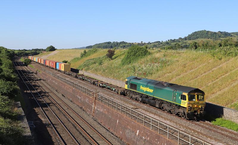 66508, 16.30 Cardiff Wentloog-Tilbury IRFT, Standish Junction, near Stonehouse, 2 7-6-18.