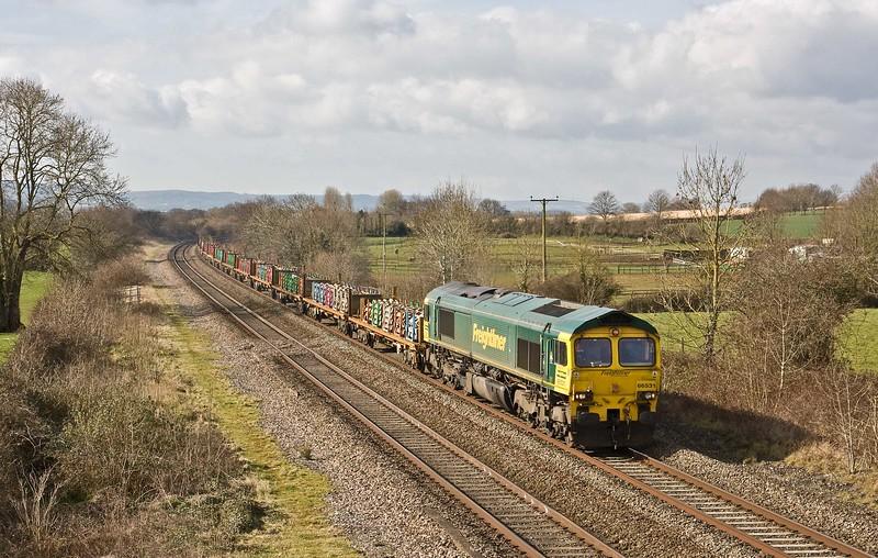 66531, 09.47 Taunton Fairwater Yard-Doncaster Wood Yard, Cogload, 21-3-18.