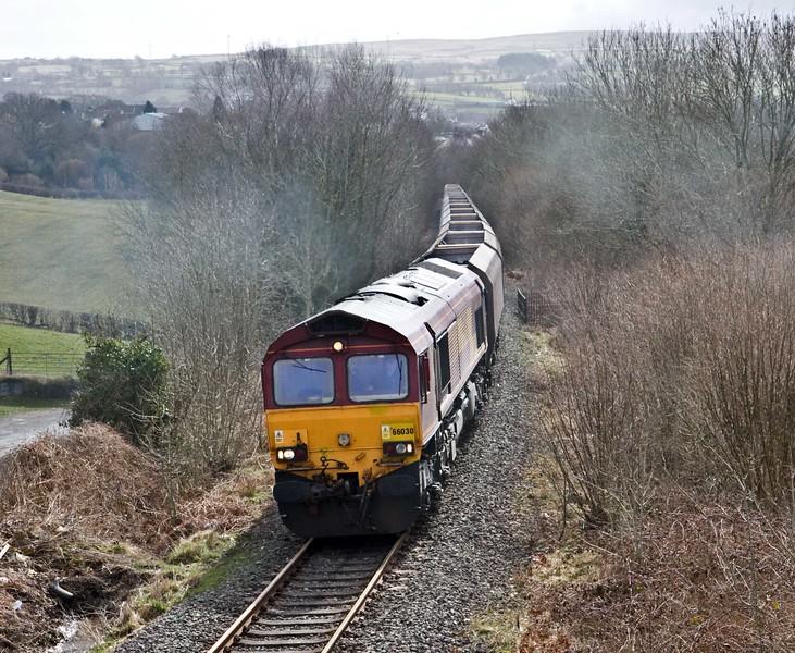 66030, 23.58 Hope (Earles Sidings)-Cwmbargoed Opencast Colliery, Trelewis, near Nelson, 23-3-18.